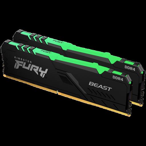 Kingston DRAM 16GB 2666MHz DDR4 CL16 DIMM (Kit of 2) FURY Beast RGB EAN: 740617319651