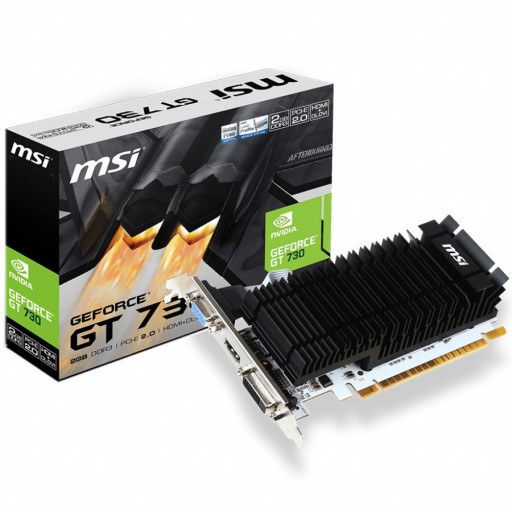 MSI Video Card NVidia GeForce GT 730 DDR3 2GB/64bit, 902MHz/1600MHz, PCI-E 2.0 x16, HDMI, DVI-D, VGA, Heatsink, Low-profile, Retail