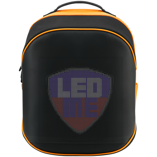 LEDme backpack, animated backpack with LED display, Nylon+TPU material, Dimensions 42*31.5*20cm, LED display 64*64 pixels, orange