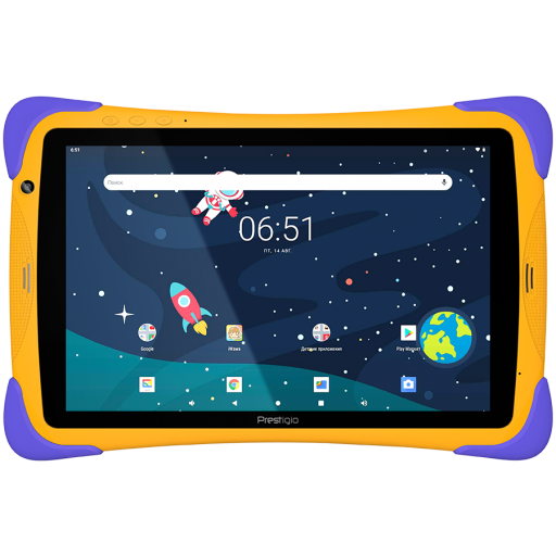 """Prestigio SmartKids UP, 10.1"""" (1280*800) IPS display, Android 10 (Go edition), up to 1.5GHz Quad Core RK3326 CPU, 1GB + 16GB, BT 4.0, WiFi, 0.3MP front cam + 2.0MP rear cam, USB Type-C, microSD card slot, 6000mAh battery. Color: orange-violet"""
