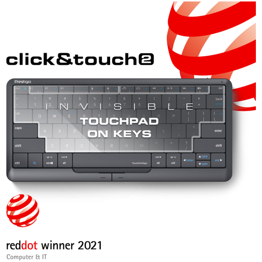 """Prestigio Click&Touch 2, wireless multimedia smart keyboard with touchpad embedded into keys, auto-switch between keyboard and touchpad modes, touch multimedia sliders, left and right physical """"mouse"""" buttons, connects up to 4 devices via Bluetooth and Ty"""