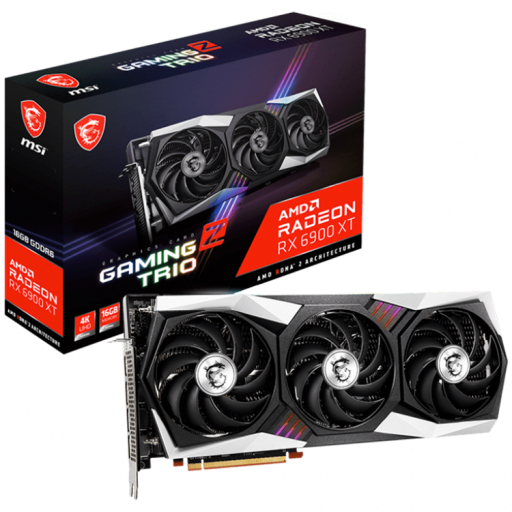 MSI Video Card AMD Radeon RX 6900 XT GAMING Z TRIO 16G, 16GB GDDR6, 256-bit, 512.0 GB/s, 16000 MHz Effective Memory Clock, Boost: 2425 MHz, 5120 Cores, 3x DP 1.4, HDMI 2.1, 850W Recommended PSU, 3Y