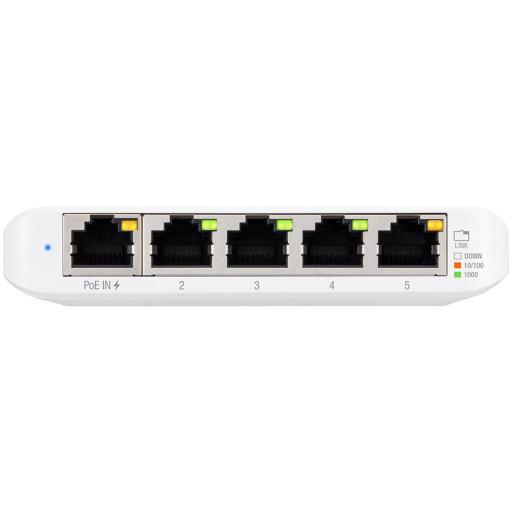 Ubiquiti USW-Flex-Mini-5 5-Port managed Gigabit Ethernet switch powered by 802.3af/at PoE or 5V, 1A USB-C power adapter