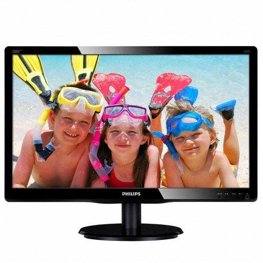 Monitor LED Philips 200V4LAB2/00, V-line, 19.5'' 1600x900@60Hz, 16:9, TN, 5ms, 200nits, Black, 3 Years, VESA100x100/VGA/DVI/