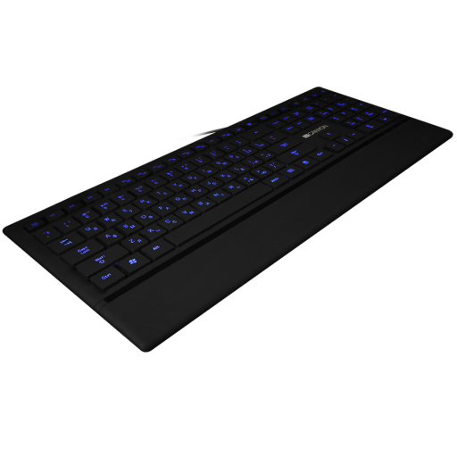 CANYON Keyboard CNS-HKB6 (Wired USB, Slim, with Multimedia functions, LED backlight, Rubberized surface), US layout