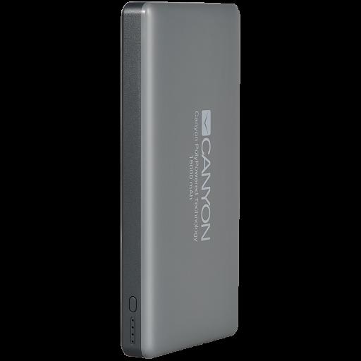 CANYON Power bank 15000mAh Li-polymer battery,with Smart IC, Input 5V/2A, Output 5V/2A(Max), 150*78*15mm, 0.33kg, Dark Gray