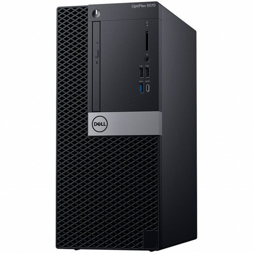 Dell OptiPlex Desktop 5070 MT, Intel Core i5-9500 (6 Cores/9MB/6T/3.0GHz to 4.4GHz), 8GB (1X8GB) DDR4 2666MHz, 256GB (M.2)NVMe SSD, Intel Graphics UHD 630, DVD+/-, No Mouse , Dell Keyboard KB216 Black, Win 10 Pro, 3Yr NBD