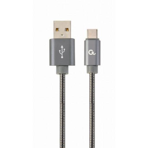 Cablu alimentare și date Cablexpert, USB 2.0 (T) la USB 2.0 Type-C (T) Premium CC-USB2S-AMCM-2M-BG 2m