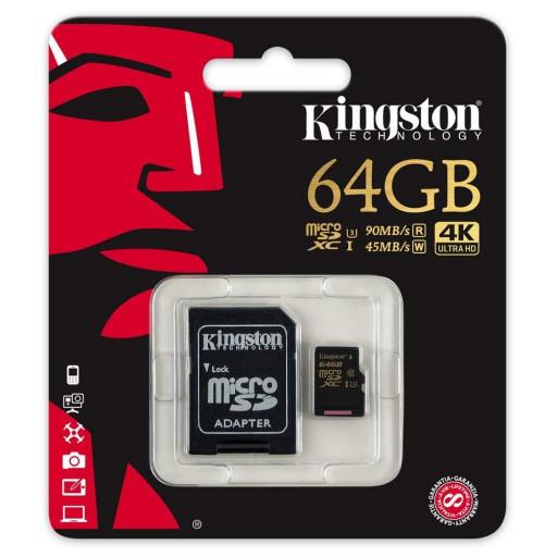 Card micro SDXC Kingston Gold SDCG/64GB - 64GB, Class U3
