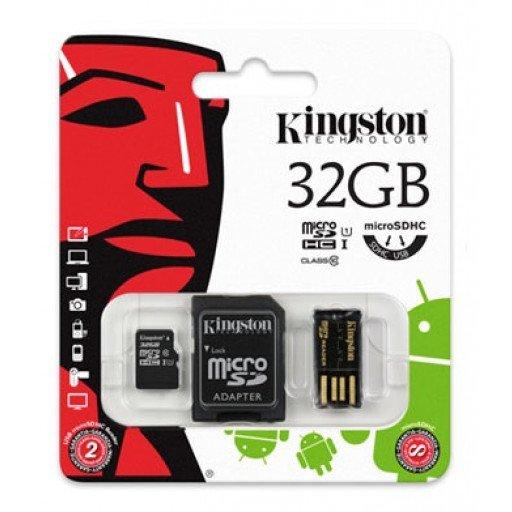 Card memorie micro SDHC cu adaptor SD si USB 32 GB Class U3 UHS-I Kingston - MBLY10G2/32GB