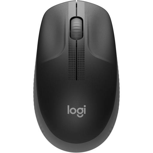 Mouse optic wireless Logitech M90 cu USB, 2+1 butoane, ambidextru, raza de acțiune: până la 10m, culoare negru/ gri.