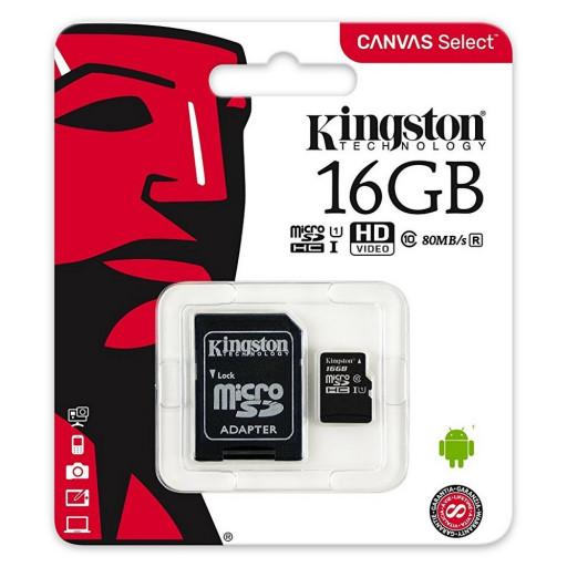 Card micro SDHC Kingston CANVAS Select SDCS/16GB - 16GB, Class U1