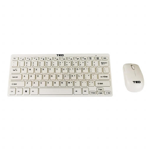 Kit tastatura si mouse wireless mini TED-2 - alb