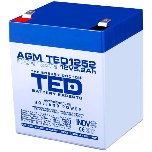 Acumulator TED AGM VRLA 12V 5.2Ah