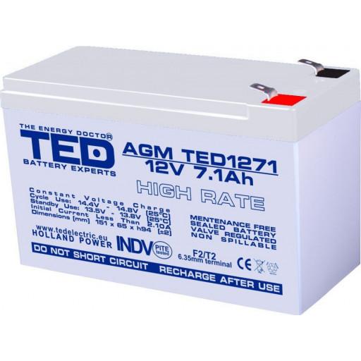 Acumulator TED AGM VRLA 12V 7.1Ah