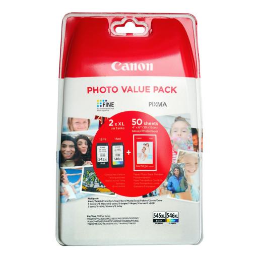 Cartus Canon Value Pack PG-545XL Black / CL-546XL Color + 50x Hartie Foto