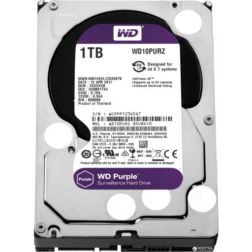 HDD 1 TB Western Digital Purple SATA-III WD10PURZ 3.5""
