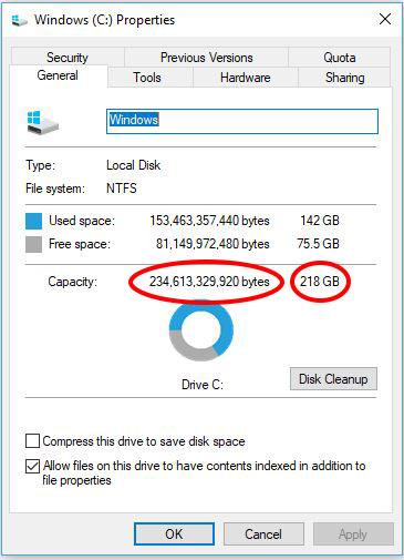 Capacitatea reala a HDD-ului